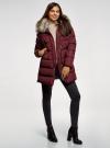 Куртка удлиненная с искусственным мехом на воротнике oodji для женщины (красный), 10203059-1/32754/4905N - вид 6