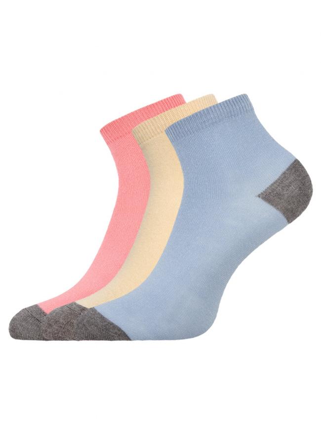 Комплект из трех пар укороченных носков oodji для женщины (разноцветный), 57102418T3/47469/19SXB