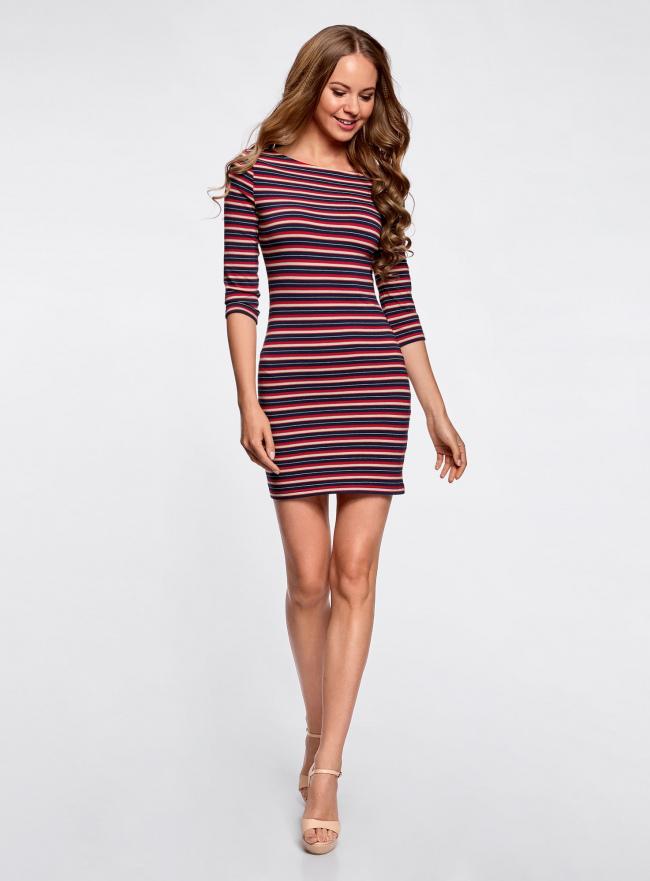 Платье трикотажное базовое oodji для женщины (разноцветный), 14001071-2B/46148/7545S