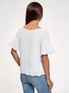 Блузка хлопковая с воланами на рукавах oodji #SECTION_NAME# (белый), 13L05002/49235/1000N - вид 3