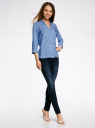 Блузка вискозная с рукавом-трансформером 3/4 oodji #SECTION_NAME# (синий), 11403189-2B/26346/7512O - вид 6