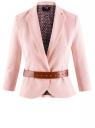 Жакет льняной с широким ремнем oodji #SECTION_NAME# (розовый), 21202076-2/45503/4000N