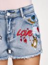 Шорты джинсовые с рисунком и потертостями oodji #SECTION_NAME# (синий), 12807072/45254/7519K - вид 4