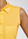 Топ вискозный с рубашечным воротником oodji #SECTION_NAME# (желтый), 14911009B/26346/5100N - вид 5