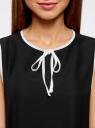 Блузка с контрастной отделкой oodji #SECTION_NAME# (черный), 11411047/42405/2912B - вид 4