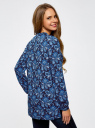 Блузка принтованная из вискозы oodji #SECTION_NAME# (синий), 21412143/42127/7975E - вид 3