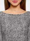Платье трикотажное принтованное oodji #SECTION_NAME# (серый), 14001150-3/33038/1229A - вид 4