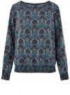 Блузка принтованная с вырезом-лодочкой oodji #SECTION_NAME# (синий), 21400405/26546/794AE