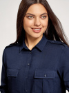 Блузка базовая из вискозы с нагрудными карманами oodji #SECTION_NAME# (синий), 11411127B/26346/7900N - вид 4