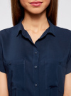 Блузка из вискозы с нагрудными карманами oodji #SECTION_NAME# (синий), 11400391-3B/24681/7900N