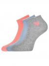 Комплект из трех пар хлопковых носков oodji для женщины (разноцветный), 57102705T3/48022/20 - вид 2
