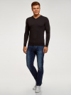 Пуловер базовый с V-образным вырезом oodji #SECTION_NAME# (коричневый), 4B212007M-1/34390N/3900M - вид 6