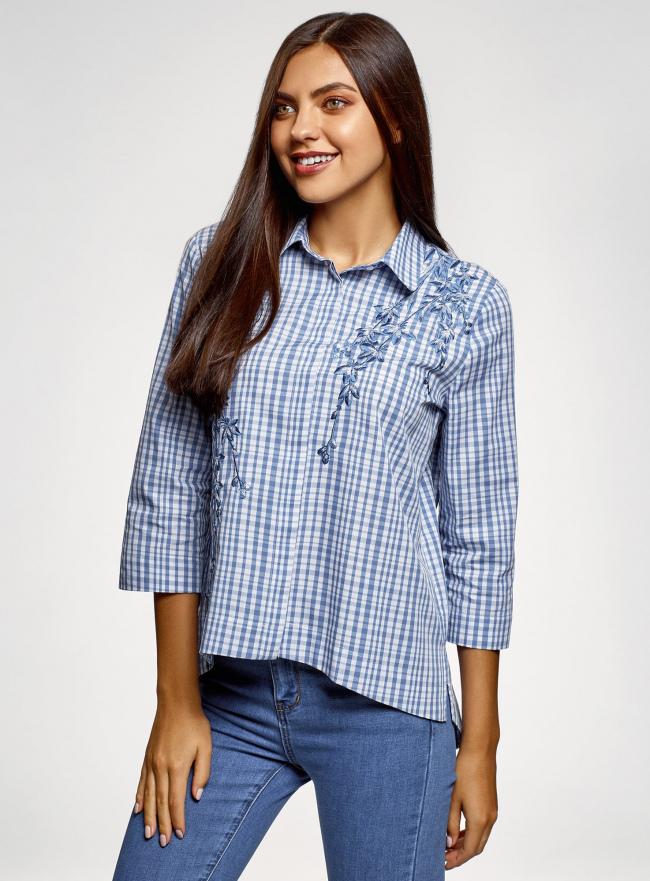 Рубашка свободного силуэта с асимметричным низом oodji #SECTION_NAME# (синий), 13K11002-6/49405/7010C