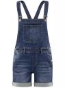 Комбинезон с шортами джинсовый oodji #SECTION_NAME# (синий), 13109060/45379/7500W