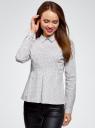 Блузка хлопковая с баской oodji #SECTION_NAME# (белый), 13K00001B/26357/1029G - вид 2