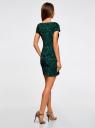 Платье трикотажное с принтом из флока oodji для женщины (зеленый), 14001117-9/33038/6929O