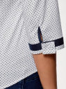 Блузка хлопковая с рукавом 3/4 oodji #SECTION_NAME# (белый), 13K03005B/26357/1079D - вид 5
