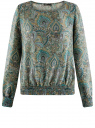 Блузка принтованная с вырезом-лодочкой oodji для женщины (зеленый), 21400405/26546/6E35E