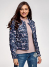 Куртка стеганая с круглым вырезом oodji для женщины (синий), 10203072B/42257/7919F - вид 2