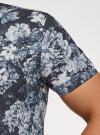 Рубашка принтованная с коротким рукавом oodji #SECTION_NAME# (синий), 3L410133M/44425N/7970F - вид 5