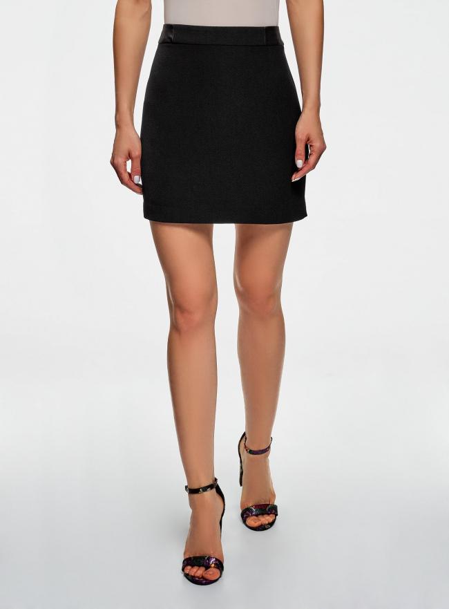 Юбка короткая с отделкой из искусственной кожи oodji для женщины (черный), 11601179-10/46415/2900N