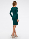 Платье трикотажное облегающего силуэта oodji #SECTION_NAME# (зеленый), 14001183B/46148/6E01N - вид 3