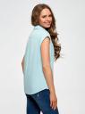 Рубашка хлопковая с нагрудными карманами oodji #SECTION_NAME# (бирюзовый), 13L11008/47730/6500N - вид 3