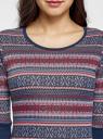 Платье трикотажное с этническим принтом oodji для женщины (разноцветный), 14001064-3/35468/7945J