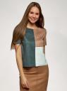 Блузка колор блок из искусственной замши oodji для женщины (зеленый), 18K01004/47301/6935B
