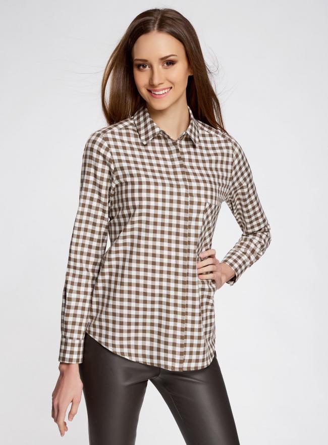 Рубашка свободного силуэта с регулировкой длины рукава oodji #SECTION_NAME# (коричневый), 11411099-1/43566/6812C