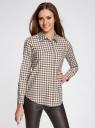 Рубашка свободного силуэта с регулировкой длины рукава oodji #SECTION_NAME# (коричневый), 11411099-1/43566/6812C - вид 2