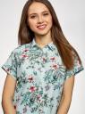 Рубашка прямого силуэта с коротким рукавом oodji #SECTION_NAME# (зеленый), 13L11021/49224/6545F - вид 4