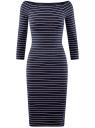 Платье облегающее с вырезом-лодочкой oodji #SECTION_NAME# (синий), 14017001-1/37809/7912S
