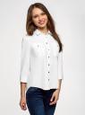 Рубашка с погонами и нагрудными карманами oodji для женщины (белый), 13L11015/26357/1000N