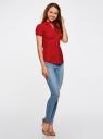 Рубашка с V-образным вырезом и отложным воротником oodji #SECTION_NAME# (красный), 11402087/35527/4500N - вид 6