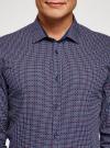 Рубашка принтованная приталенного силуэта oodji #SECTION_NAME# (синий), 3L110210M/19370N/7949G - вид 4