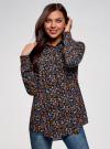 Блузка с нагрудными карманами и регулировкой длины рукава oodji #SECTION_NAME# (черный), 11400355-8B/48458/2919F - вид 2