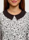 Блузка из струящейся ткани с контрастным воротником oodji #SECTION_NAME# (белый), 11411117-1B/49474/1229F - вид 4
