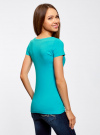 Комплект приталенных футболок (2 штуки) oodji #SECTION_NAME# (бирюзовый), 14701005T2/46147/7300N - вид 3