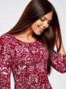 Платье трикотажное с вырезом-капелькой на спине oodji #SECTION_NAME# (красный), 24001070-5/15640/4912F - вид 4