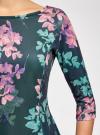 Платье трикотажное принтованное oodji #SECTION_NAME# (зеленый), 14001150-3/33038/7683F - вид 5