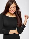 Платье облегающее с вырезом-лодочкой oodji #SECTION_NAME# (черный), 14017001-6B/47420/2900N - вид 4