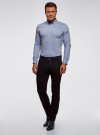 Рубашка базовая приталенная oodji #SECTION_NAME# (синий), 3B140002M/34146N/7000N - вид 5