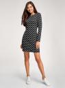Платье базовое принтованное oodji #SECTION_NAME# (черный), 14011038-2B/37809/2912O - вид 2