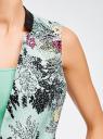 Жилет с поясом и отделкой из искусственной кожи oodji для женщины (зеленый), 22301020-8/45367/7047F
