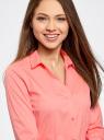 Рубашка приталенная с V-образным вырезом oodji для женщины (розовый), 11402092B/42083/4100N