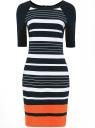Платье трикотажное в полоску oodji для женщины (белый), 24017001/45176/1079S