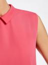 Блузка базовая без рукавов с воротником oodji #SECTION_NAME# (розовый), 11411084B/43414/4D00N - вид 5