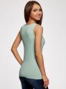 Топ из эластичной ткани на широких бретелях oodji для женщины (зеленый), 24315002-1B/45297/7000N