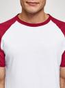 Футболка хлопковая с контрастными рукавами реглан oodji для мужчины (белый), 5L623000M/47885N/1045B